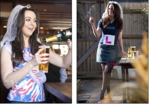 一位长相颇似凯特•米德尔顿(Kate Middleton)的女性抽烟、嗜酒的照片