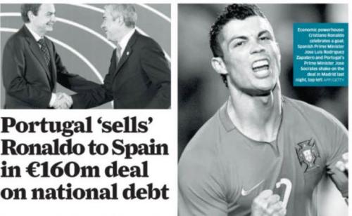 葡萄牙总理苏格拉底(Jose Socrates)与西班牙总理萨巴德洛(Jose Luis Rodriguez Zapatero)握手,庆祝1.6亿欧元成功交易罗纳尔多