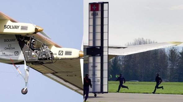 这架单座飞机制造时得到多家赞助(左),地面人员在飞机起飞时进行调度安排