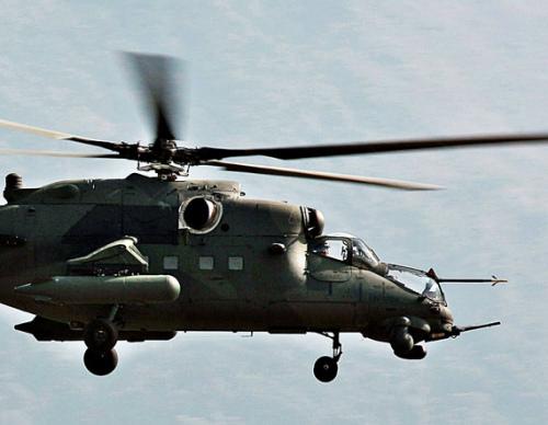 俄一架米-35战斗直升机坠毁