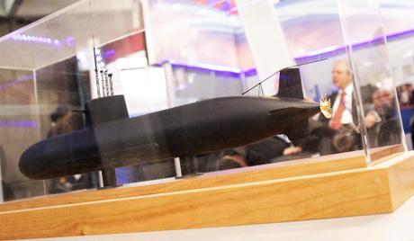 """材料图:俄罗斯""""阿穆尔""""级潜艇模子"""