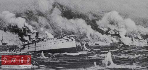 """在黄海海战中冲向敌舰的北洋水师""""致远""""舰(绘画著作)(材料图像)"""