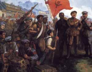 邓小平、张云逸、韦拔群在广西指导和动员百色叛逆