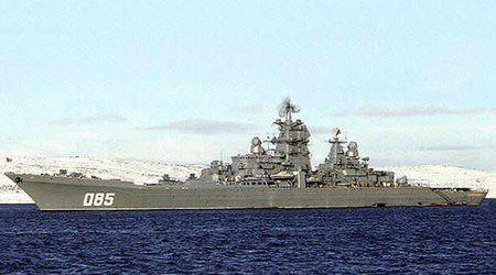 """材料图:俄罗斯""""纳希莫夫水兵上将""""号核能源导弹巡洋舰。"""