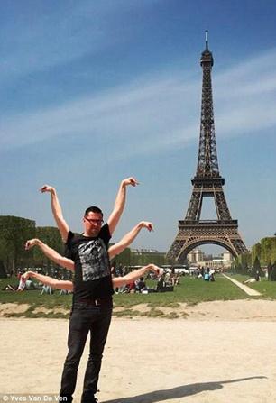游客与巴黎铁塔失败合照被网友疯狂ps(组图)-中新网