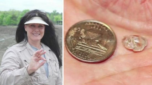 幸运的美国女子克拉克日前在阿肯色州钻石坑州立公园挖到一颗重达3.69克拉的白钻,价值大约2万美元(约合12.4万元人民币)。图片来源:阿肯色州立公园。