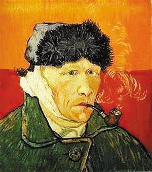 资料图:梵高割下耳朵后创作的著名画作《耳朵缠着绷带的肖像》。图片来源:深圳商报