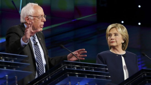 美国民主党总统参选人首场辩论,大热人选希拉里及伯尼·桑德斯针锋相对。