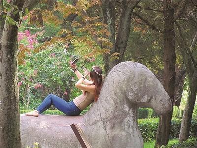 资料图:今年9月,媒体曝出有女子爬上石兽玩自拍,姿势不停变换。图片来源:扬子晚报