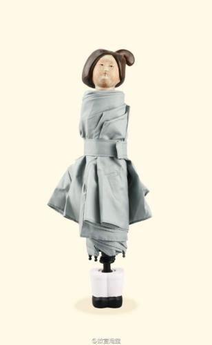 陶俑雨伞。图片来源:故宫淘宝官方微博