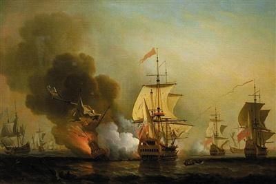 """著名海战油画《""""圣荷西""""号爆炸》。作者是英国著名的风景画家塞缪尔·斯科特,他也是著名的海战油画家。"""