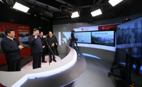 習近平通過人民網視頻連線福建赤溪村村民。攝影 新華社記者 蘭紅光