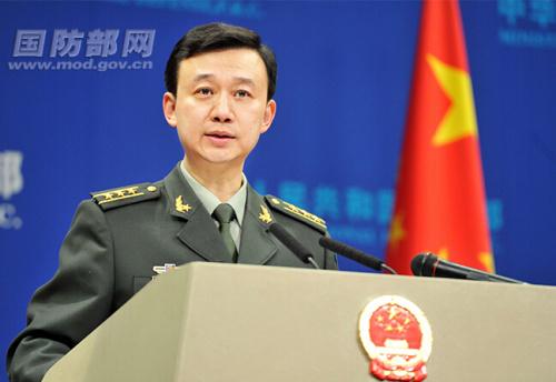 国防部新闻局副局长、国防部新闻发言人吴谦上校答记者问。中国军网记者 李爱明 摄