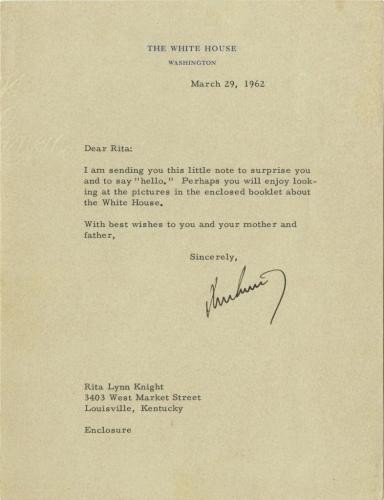 美国前前总统肯尼迪写给小女孩的回信。