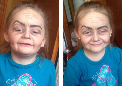 """3岁小姑娘化妆变""""老奶奶""""走红。"""