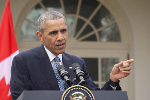 """美国总统奥巴马在白宫记者会上回应""""特朗普效应""""。"""