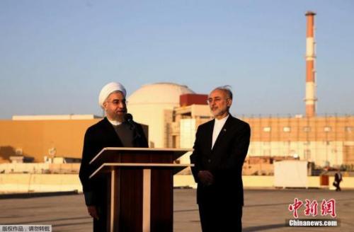 资料图:伊朗总统鲁哈尼讲话。