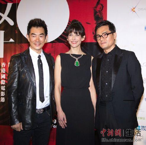 苏菲•玛索 Sophie Marceau与台湾著名歌星、演员任贤齐(左),香港著名影星林家栋(右)合影