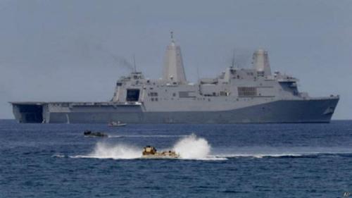 资料图:菲律宾海军同美国海军举行联合军演。