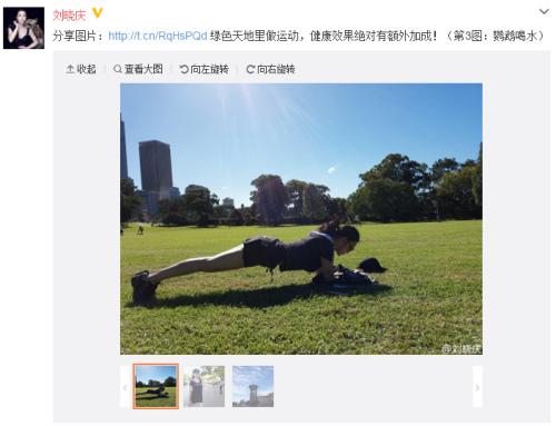 刘晓庆草丛中做平板支撑 美腿修长白皙(图)