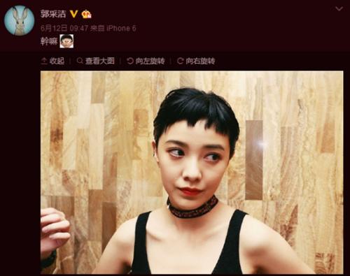 资料图:郭采洁晒出上海电影节红毯造型。(图片来源:郭采洁微博截图)