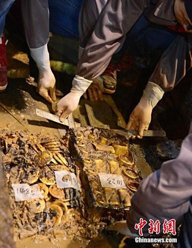 2015年11月,在南昌西汉海昏侯墓考古发掘现场,考古工作者在对海昏侯墓主椁室文物集中提取研究时,发现两盒金饼远不止此前估计的约50枚,而是有187枚。其中一盒有88枚,另一盒有99枚。这些金饼有的正面光滑,有的凹凸不平。此外,还发现了25枚马蹄金,其中罕见的麟趾金10枚,大马蹄金5枚,小马蹄金10枚。目前,这批金器已被提取并运往了文物应急保护用房保护和修复。郭晶 摄