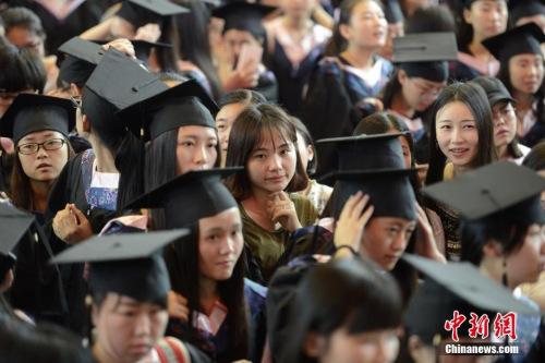 """资料图:6月16日,湖南女子学院为2016届毕业生举办了隆重的毕业典礼,欢送数千余名女毕业生奔赴五湖四海。毕业典礼上除了精彩的演讲,众多""""高颜值""""女毕业生也十分抢眼。 杨华峰 摄"""