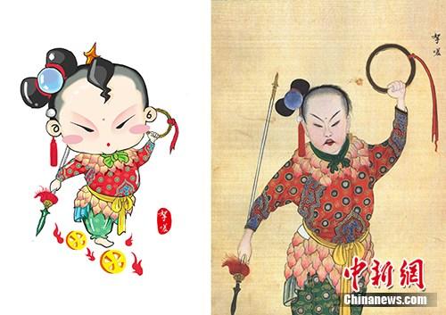 以国图馆藏《庆赏升平》为基础设计的哪吒形象(左),右图为《庆赏升平》中的哪吒形象。国家图书馆供图