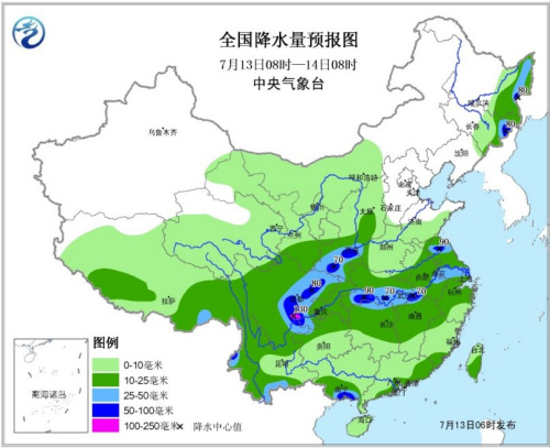 �D1 天下降水量�A告�D(7月13日08�r―14日08�r)