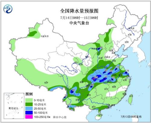 �D2 天下降水量�A告�D(7月14日08�r―15日08�r)