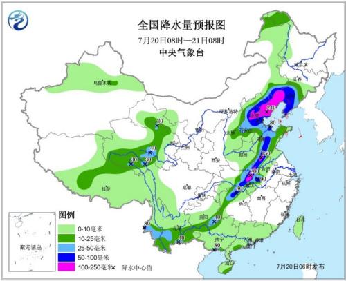 图1 天下降水量预告图(7月20日08时―21日08时)