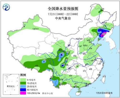 图2 全国降水量预报图(7月21日08时—22日08时)