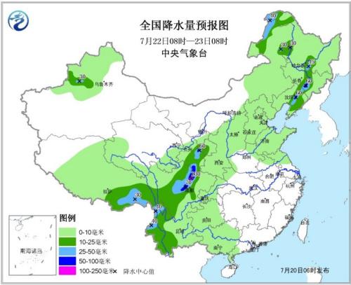 图3 天下降水量预告图(7月22日08时―23日08时)
