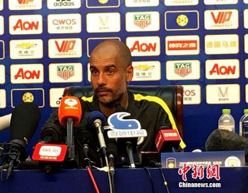 瓜迪奥拉直言没空关注中国足球,记者王牧青摄