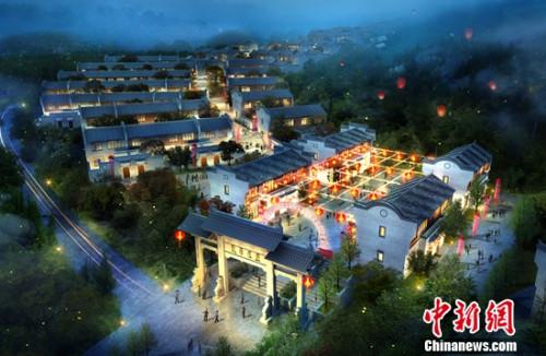 绿地百年中国半鸟瞰夜景图