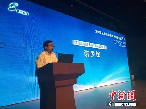 工信部信息化和软件服务业司司长 谢少锋。 吴涛 摄