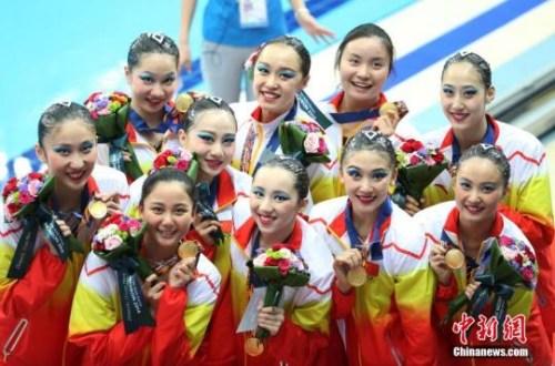 资料图:中国队获得仁川亚运会花样游泳集体项目金牌。 记者 汤彦俊 摄