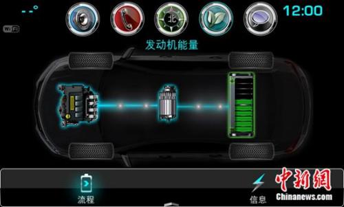 雪佛兰迈锐宝XL 全混动车娱乐系统能量流显示