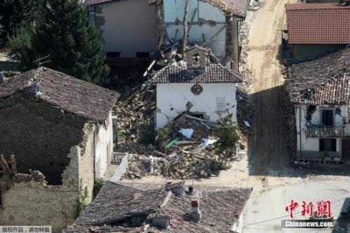 资料图:意大利地震灾区