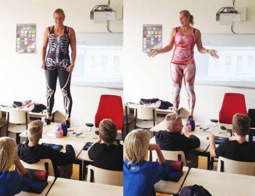 """图2 女老师大胆""""脱衣""""讲解人体结构。"""