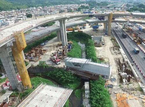 粉岭公路上的高架桥梁工程。图像来历:陈茂波网志