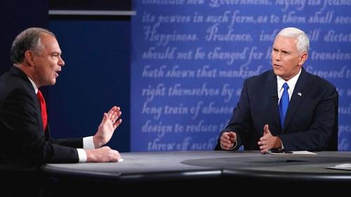 当地时间10月4日晚间,美国民主党副总统候选人凯恩(左)和共和党候选人彭斯(右)展开辩论。
