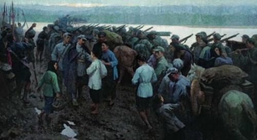 油画《送别》,作者:靳尚谊 于都人民送别红〗军
