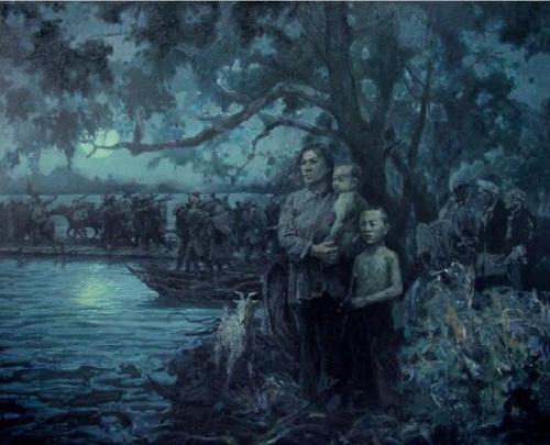 油画《于都雨夜》,作者:李如 一位妇女带着孩子在∑渡口眺望过河的红军�部队,不知丈�罘蚴欠裨诙游橹�