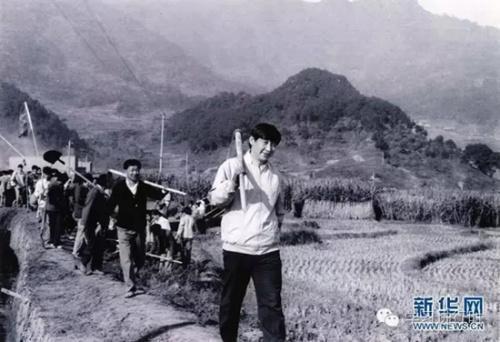 这是1988年,时任福建宁德地委布告的习近平下乡研究时和大众一同参与劳动。 新华社发