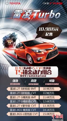 雷凌Turbo和雷凌1.8L系列市场建议指导价