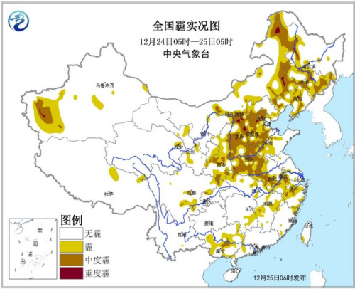 Places such as north huanghuai have light to moderate haze Beijing hebei local heavy haze