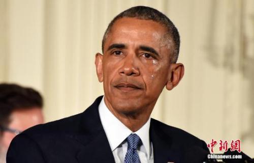 2016年1月5日,奥巴马白宫举行发布会,宣布将采取系列行政措施遏制枪支暴力。他在提及2012年桑迪胡克小学枪击案时落泪。<a target='_blank'  data-cke-saved-href='http://www.chinanews.com/' href='http://www.chinanews.com/'><p  align=