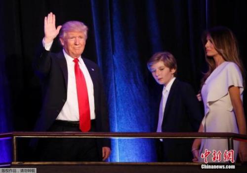 2016年11月9日,特朗普发表胜选演讲。