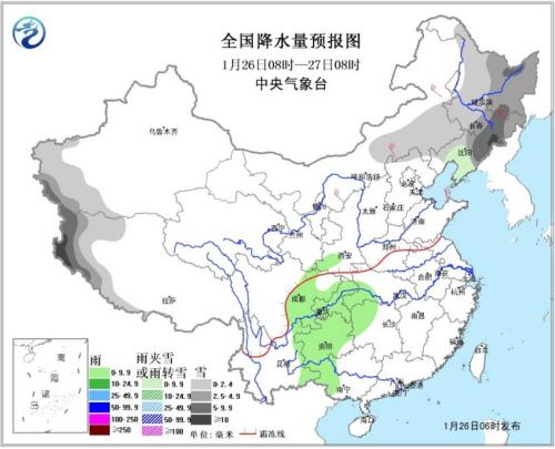 图1 全国降水量预报图(26日08时-27日08时)